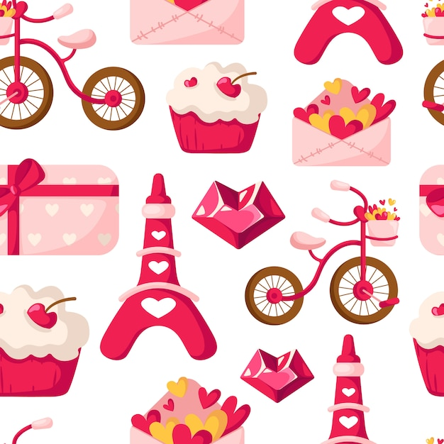 Valentine day seamless pattern - cartoon envelope with hearts, cupcake or dessert, eiffel tower, bicycle Premium Vector