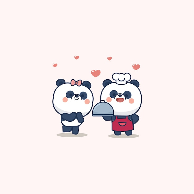 Valentine day set with cute panda with soft heart, with love you greeting card Premium Vector