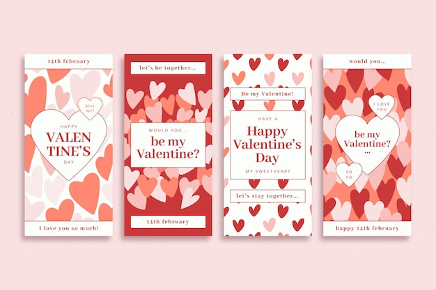 Valentine day story collection Free Vector
