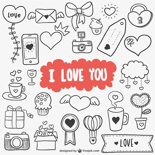 Valentine decorations and ornaments Free Vector