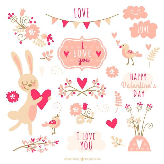 Valentine decorations collection vector free download - Decoraciones para san valentin ...