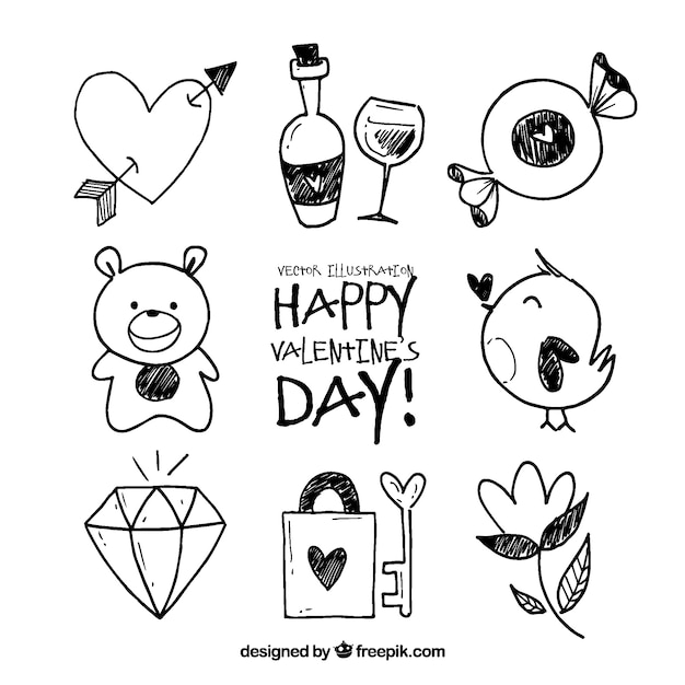 Valentine doodle elements collection Free Vector