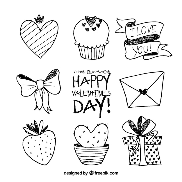 Valentine doodle elements set Free Vector