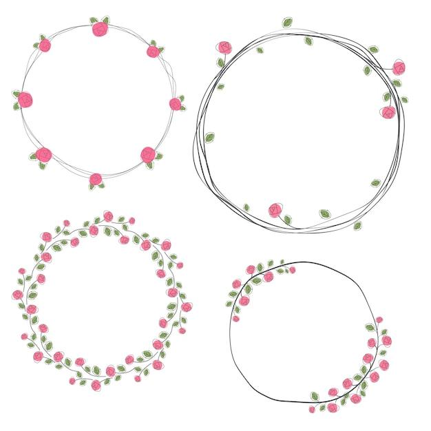 Valentine doodle roses wreath collection Premium Vector