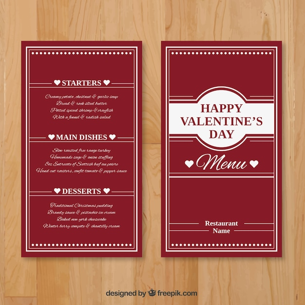 valentine elegant menu template vector free download