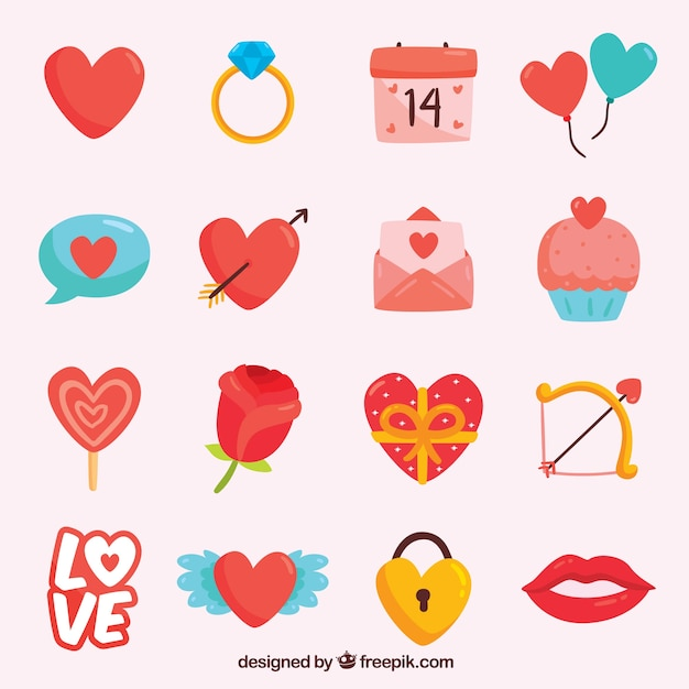 Valentine element pack Free Vector