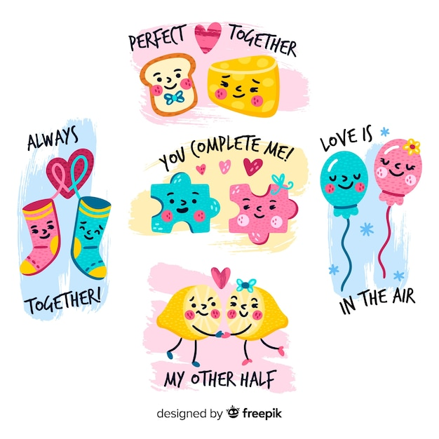 Valentine elements couple pack Free Vector