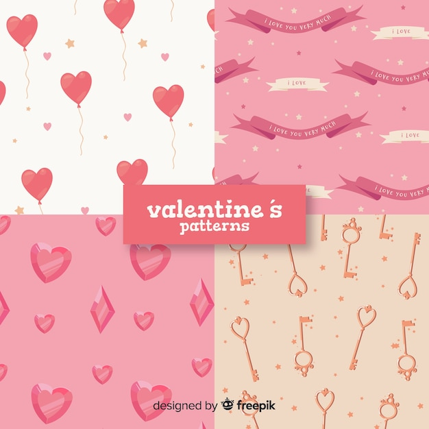 Valentine elements pattern collection Free Vector