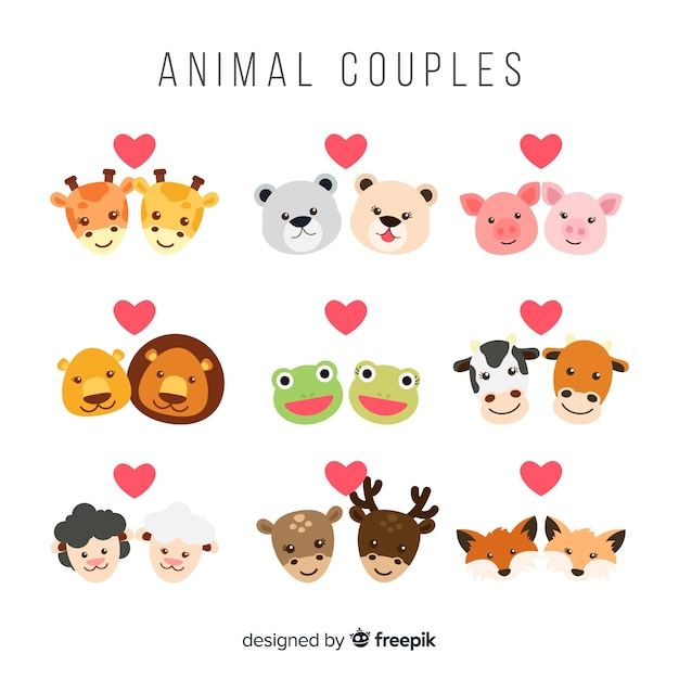 Valentine face animal couple collection Free Vector