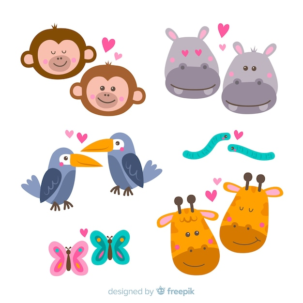 Valentine faces of animal couple pack Free Vector