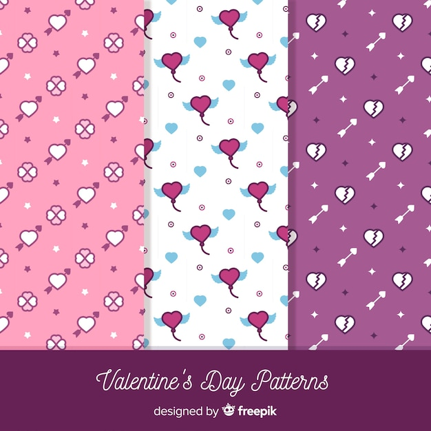 Valentine flat pattern collection Free Vector