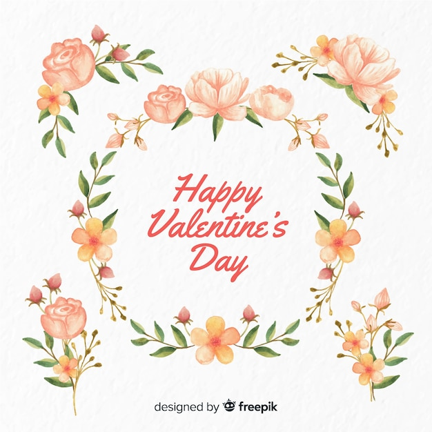 Valentine floral background Free Vector