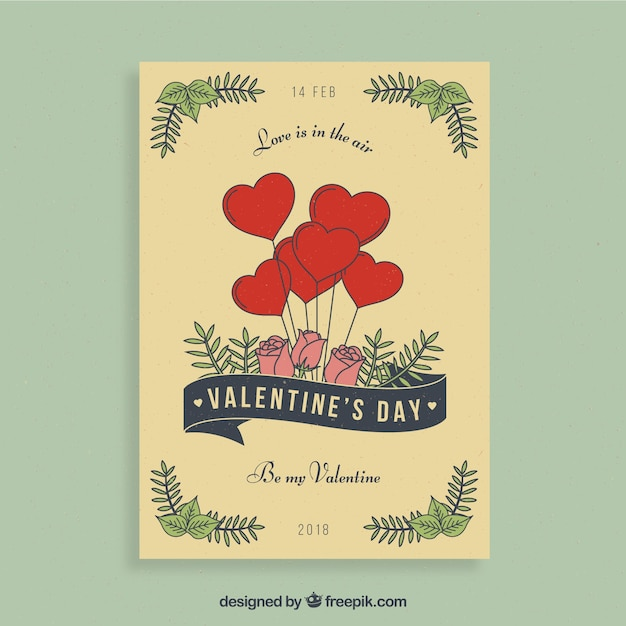 Valentine flyer design with hearts and roses Free Vector