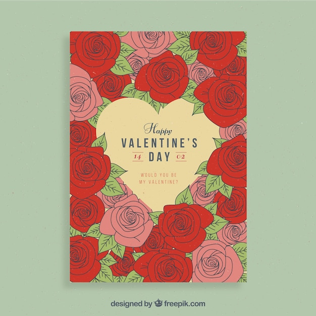 Valentine flyer design with red and pink\ flowers