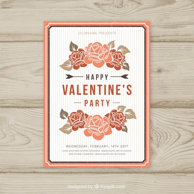 Valentine flyer design with roses