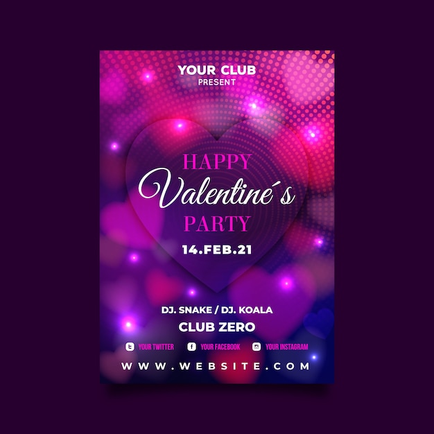 Valentine flyer template with blurred hearts and lights Free Vector
