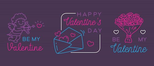 Valentine greeting badges Premium Vector