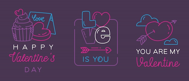 Valentine greeting badges Premium Vector