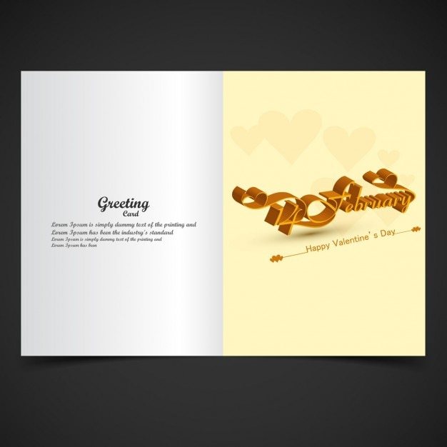 Valentine Greeting Card With Letters In 3d Vector