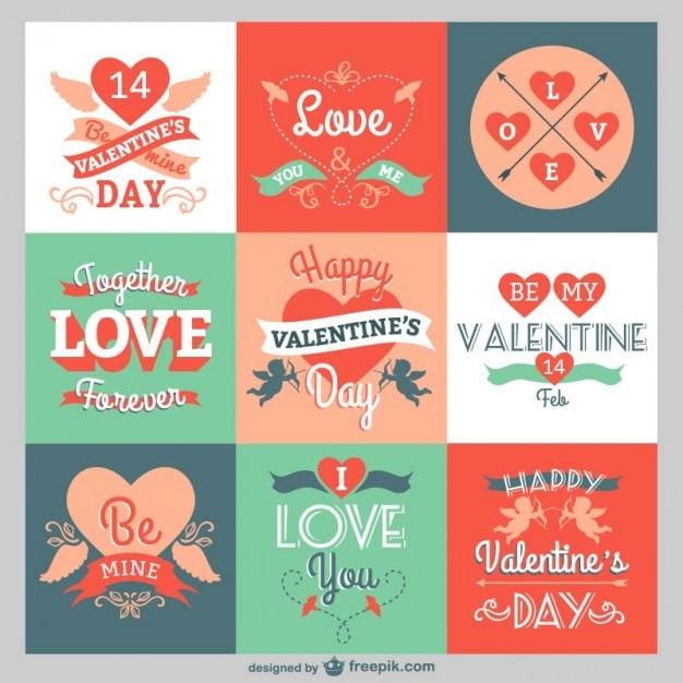 Valentine greetings pack Free Vector