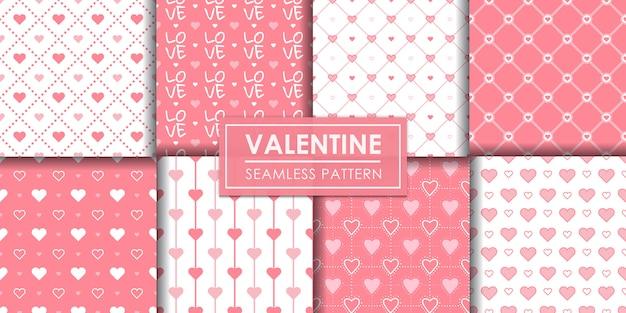 Valentine hearts seamless pattern set, decorative wallpaper. Premium Vector
