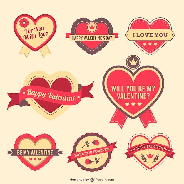 Schön Valentine Hearts Stickers Free Vector