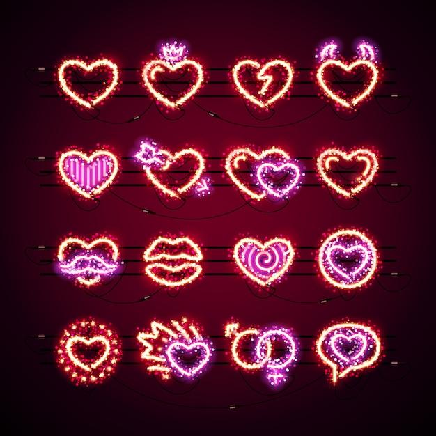 Valentine icons with glitter Premium Vector
