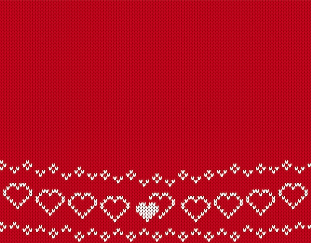 Valentine knit seamless pattern. background with hearts. red knitted texture. Premium Vector