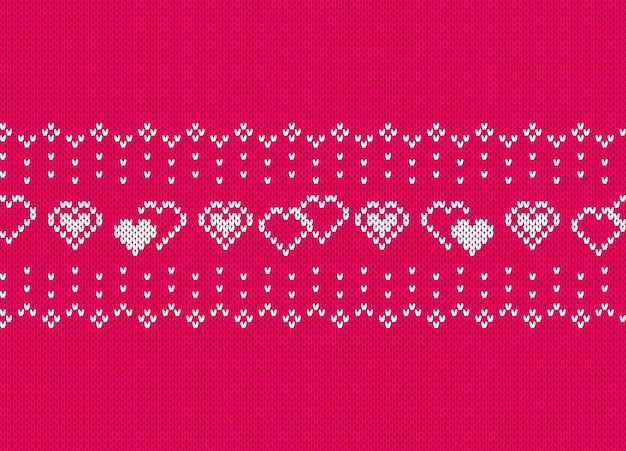 Valentine knit seamless pattern with hearts. pink knitted texture. Premium Vector