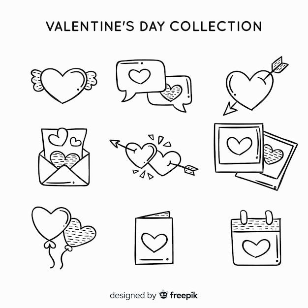 Valentine label collection Free Vector