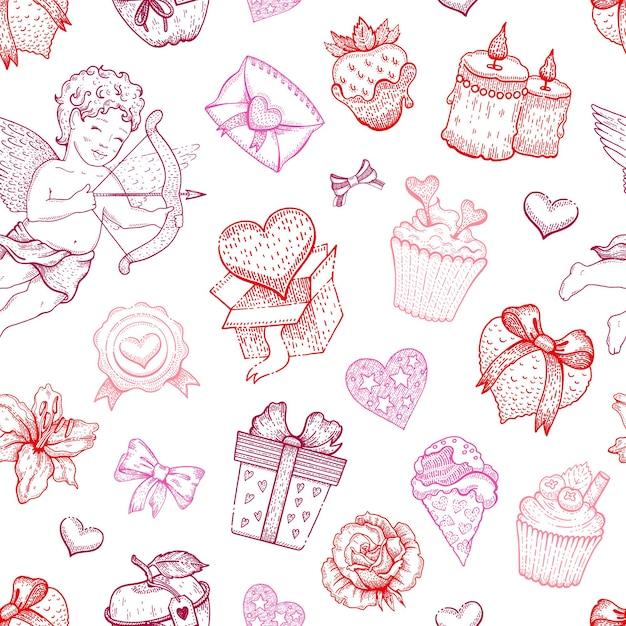 발렌타인 사랑 스케치 패턴입니다. 프리미엄 벡터