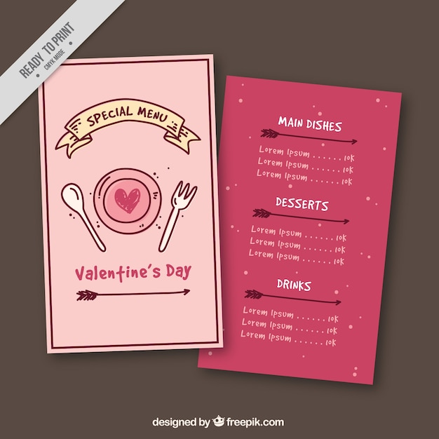Valentine menu template with ribbon and arrows Free Vector