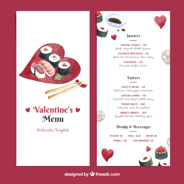 Valentine menu template with sushi vector free download valentine menu template with sushi free vector pronofoot35fo Gallery