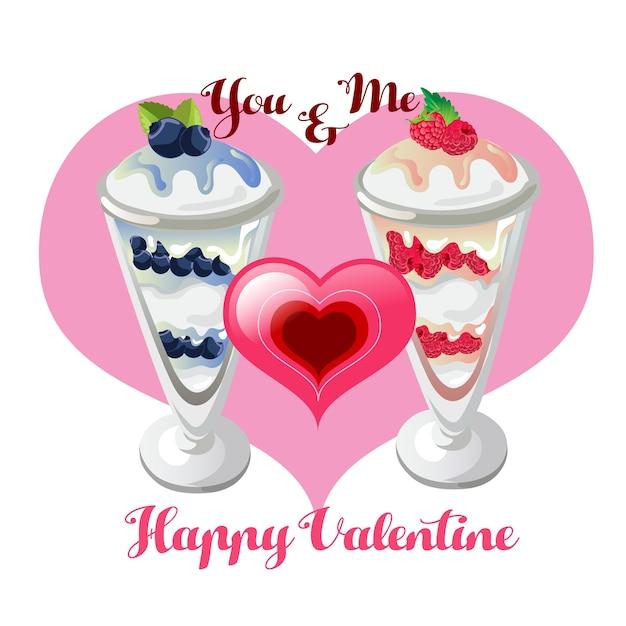Valentine parfaits Premium Vector