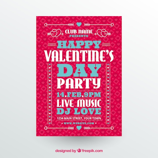 Valentine party flyer template Free Vector