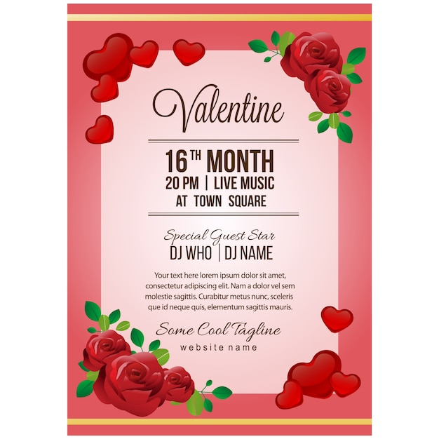 Valentine party poster template with red rose Premium Vector