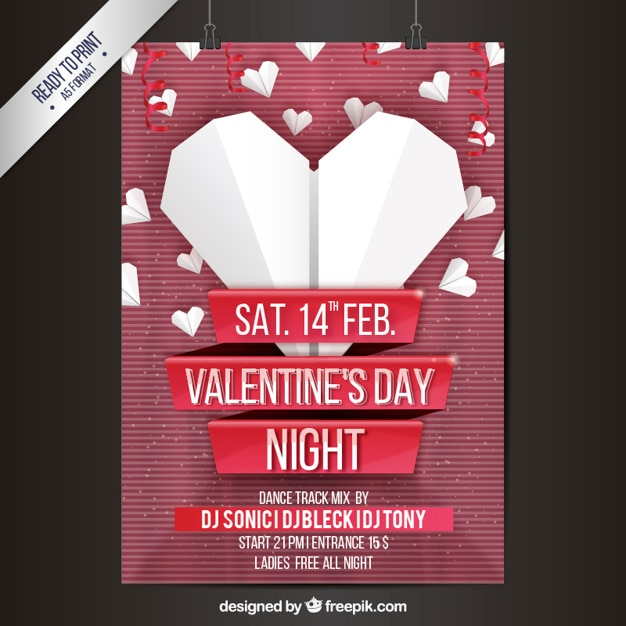 Valentine party poster Free Vector