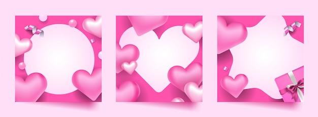 Valentine photo frame set Premium Vector