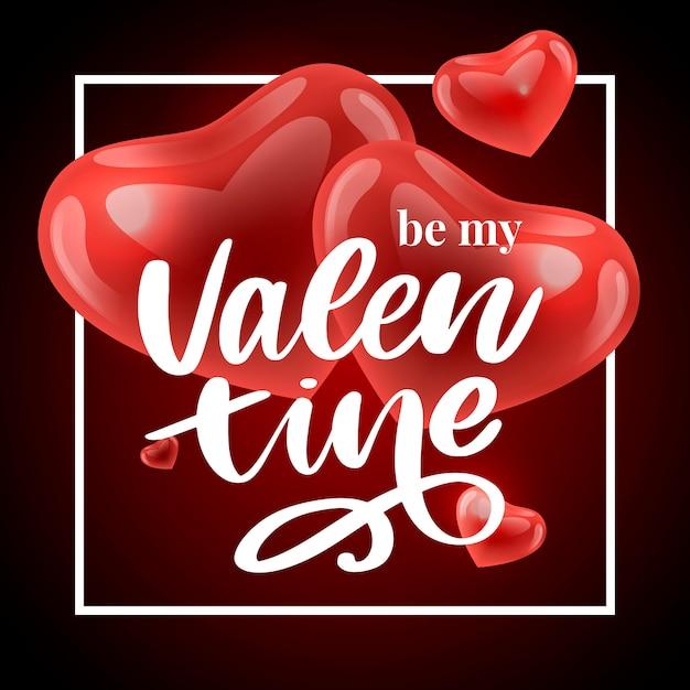 Valentine poster, card, label, banner letter slogan  elements for valentine's day  elements. typography love heart Premium Vector