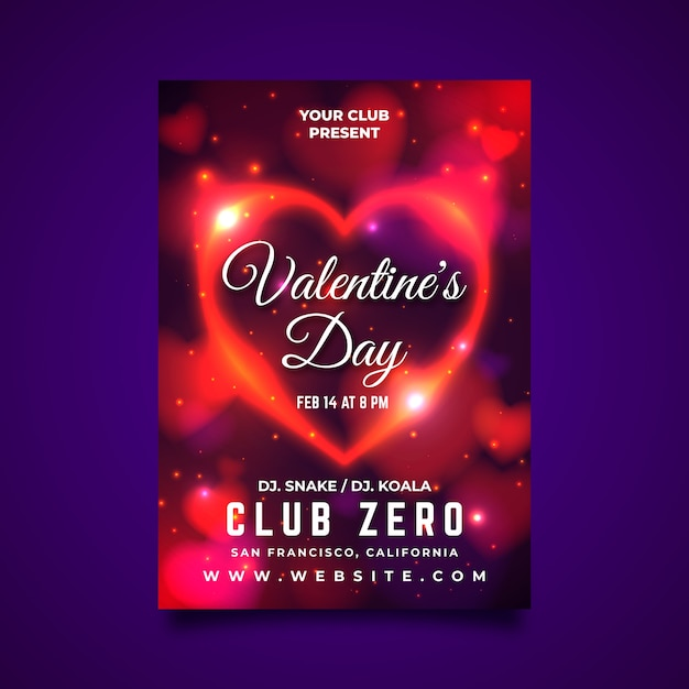 Valentine poster template with blurred hearts Free Vector