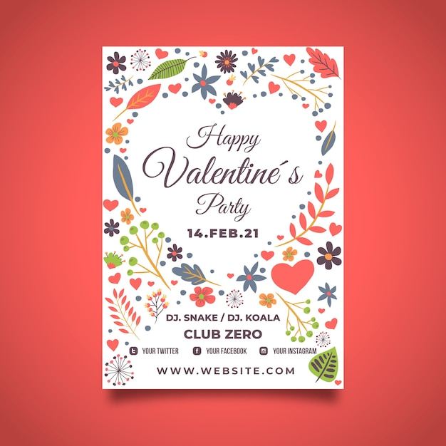 Valentine poster template with floral design Free Vector