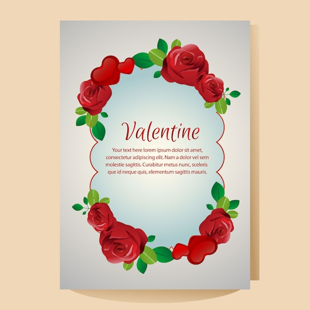 Valentine poster template with red rose ornate Premium Vector