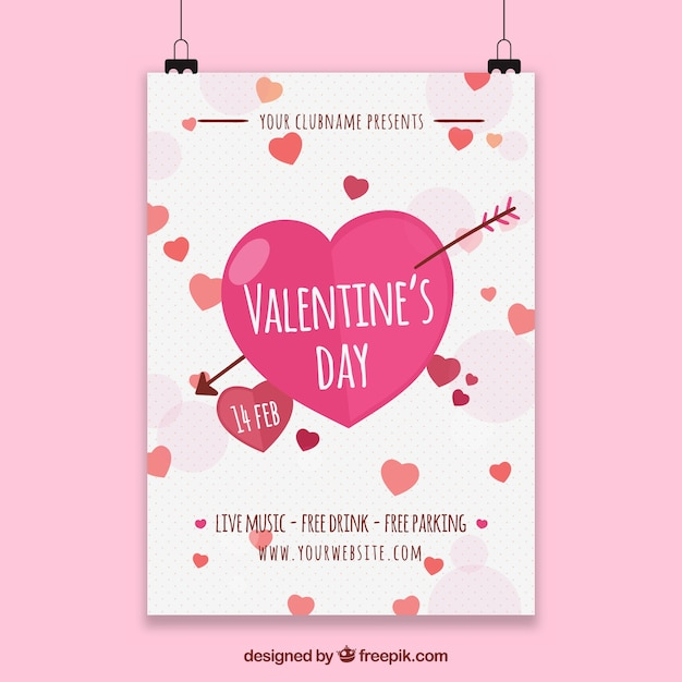 Valentine poster template Vector | Free Download