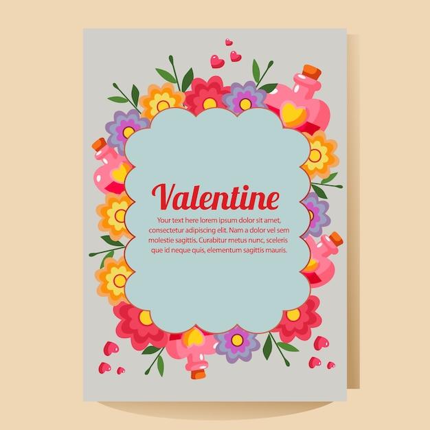 Valentine poster with cartoon love potion Premium Vector
