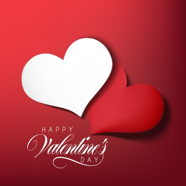 Valentine's Day Design Free Vector - 2 Beautiful Red & White Hearts