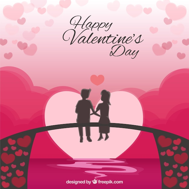 Valentine\'s background of couple sitting on a bridge Vector | Free ...