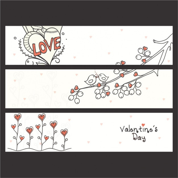 Valentine's banners collection Premium Vector