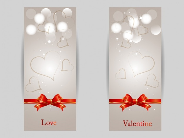 Valentine's banners set Free Vector