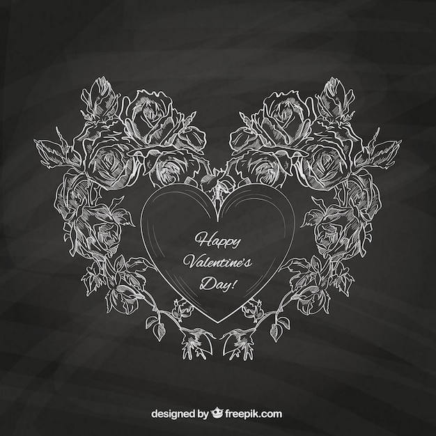 Valentine\'s card with blackboard texture