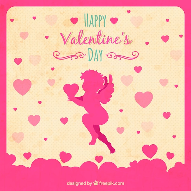 Valentine\'s card with Cupid silhouette